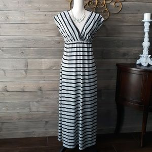 Espresso  Striped Cap Sleeve Maxi Dress